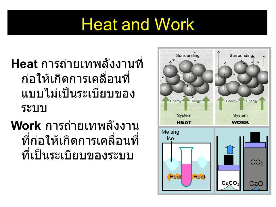 Heat and Work CaCO3. CaO. CO2. Heat. Melting. Ice. Heat การถ่ายเทพลังงานที่ก่อให้เกิดการเคลื่อนที่แบบไม่เป็นระเบียบของระบบ.