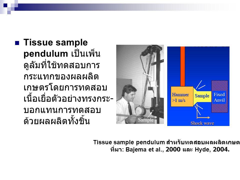 Tissue sample pendulum เป็นเพ็นดูลัมที่ใช้ทดสอบการกระแทกของผลผลิตเกษตรโดยการทดสอบเนื้อเยื่อตัวอย่างทรงกระ-บอกแทนการทดสอบด้วยผลผลิตทั้งชิ้น