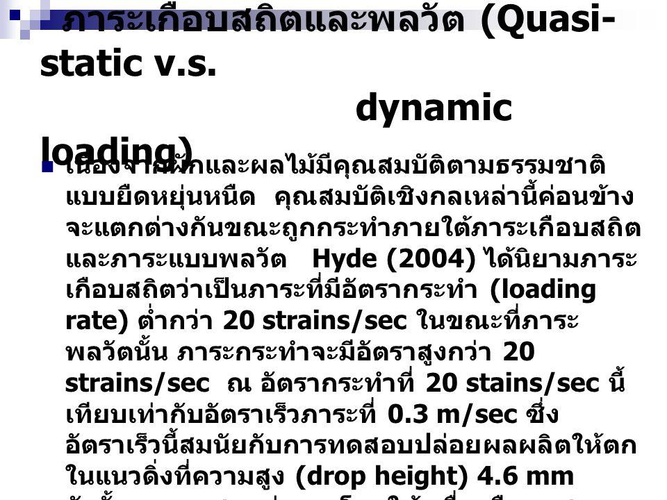 ภาระเกือบสถิตและพลวัต (Quasi-static v.s. dynamic loading)