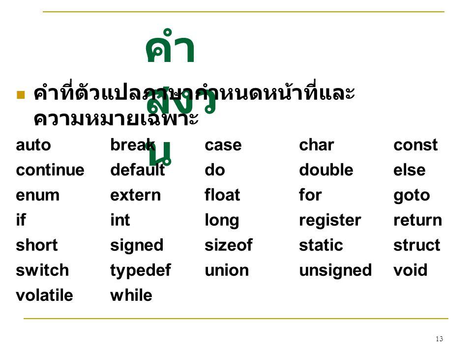 คำสงวน คำที่ตัวแปลภาษากำหนดหน้าที่และความหมายเฉพาะ