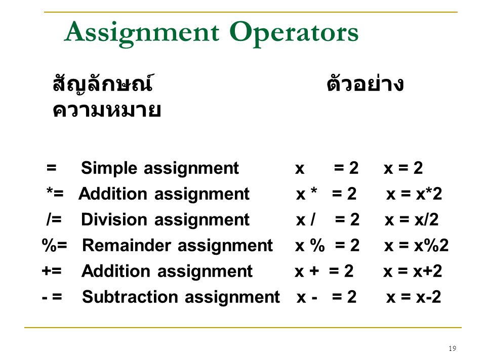 Assignment Operators = Simple assignment x = 2 x = 2