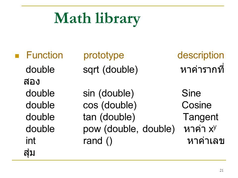 Math library Function prototype description