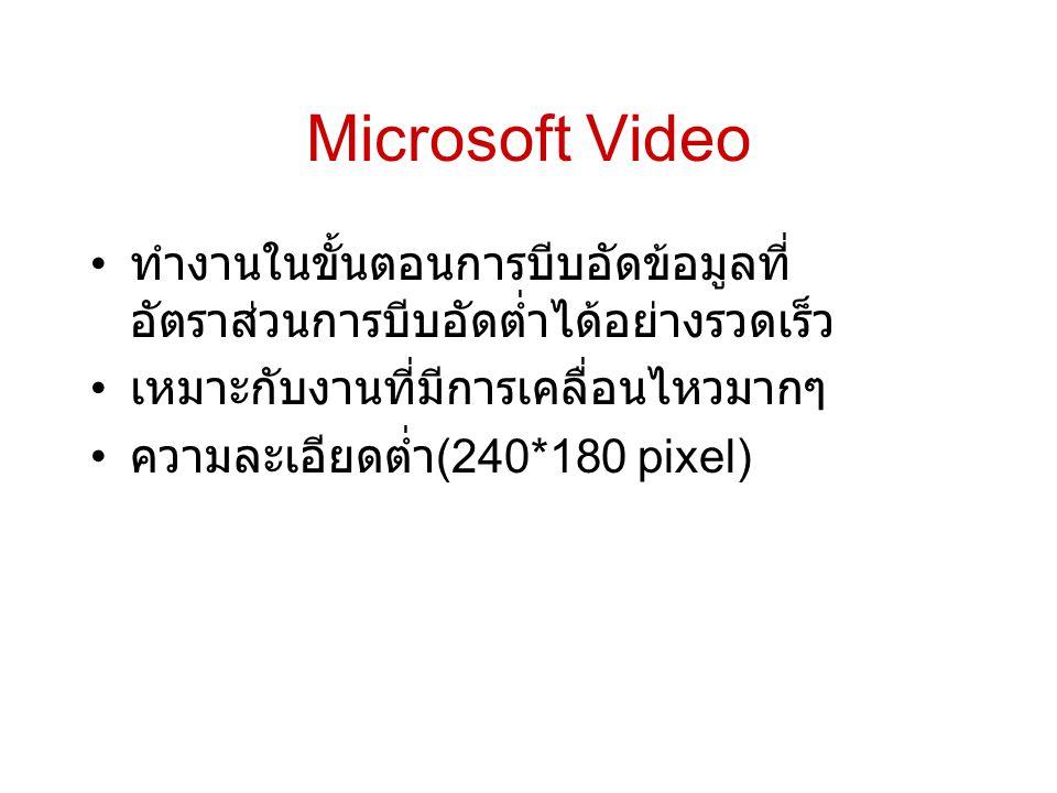 Microsoft Video ทำงานในขั้นตอนการบีบอัดข้อมูลที่อัตราส่วนการบีบอัดต่ำได้อย่างรวดเร็ว. เหมาะกับงานที่มีการเคลื่อนไหวมากๆ.