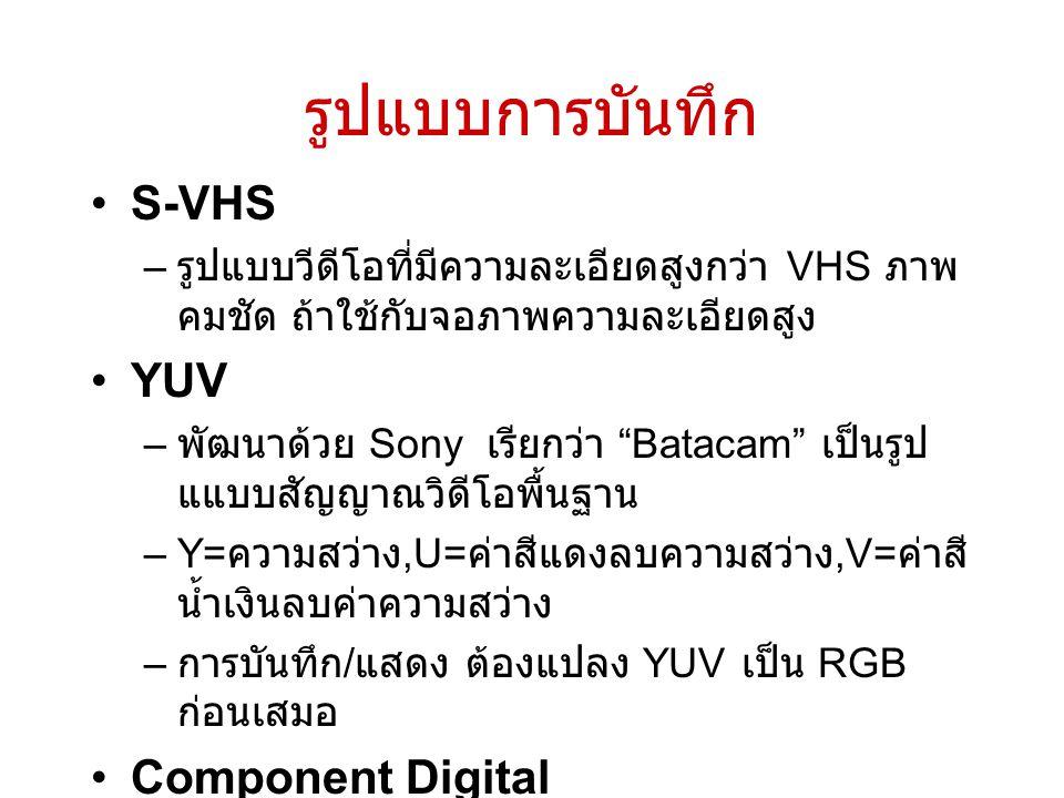รูปแบบการบันทึก S-VHS YUV Component Digital