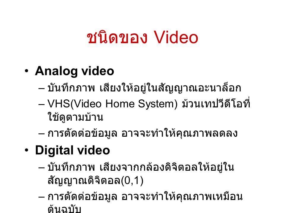 ชนิดของ Video Analog video Digital video