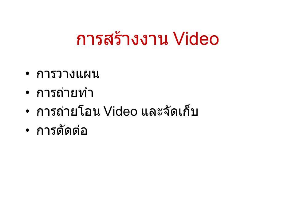 การสร้างงาน Video การวางแผน การถ่ายทำ การถ่ายโอน Video และจัดเก็บ