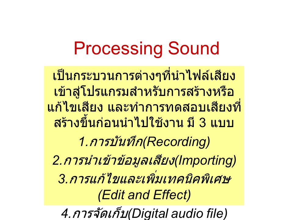 Processing Sound เป็นกระบวนการต่างๆที่นำไฟล์เสียงเข้าสู่โปรแกรมสำหรับการสร้างหรือแก้ไขเสียง และทำการทดสอบเสียงที่สร้างขึ้นก่อนนำไปใช้งาน มี 3 แบบ.