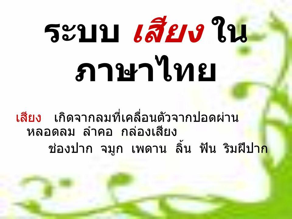 ระบบ เสียง ในภาษาไทย เสียง เกิดจากลมที่เคลื่อนตัวจากปอดผ่านหลอดลม ลำคอ กล่องเสียง.
