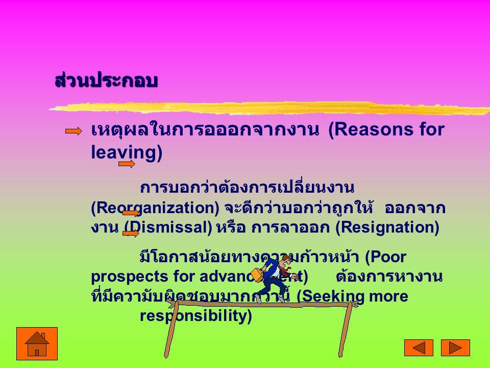 เหตุผลในการอออกจากงาน (Reasons for leaving)