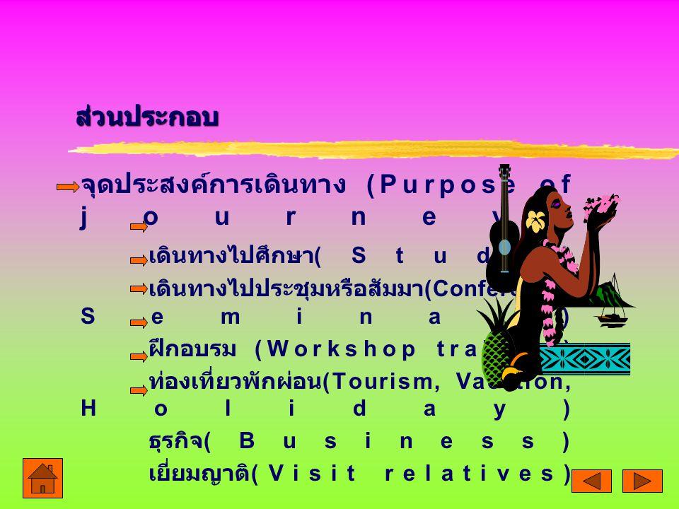 จุดประสงค์การเดินทาง (Purpose of journey) เดินทางไปศึกษา(Study)