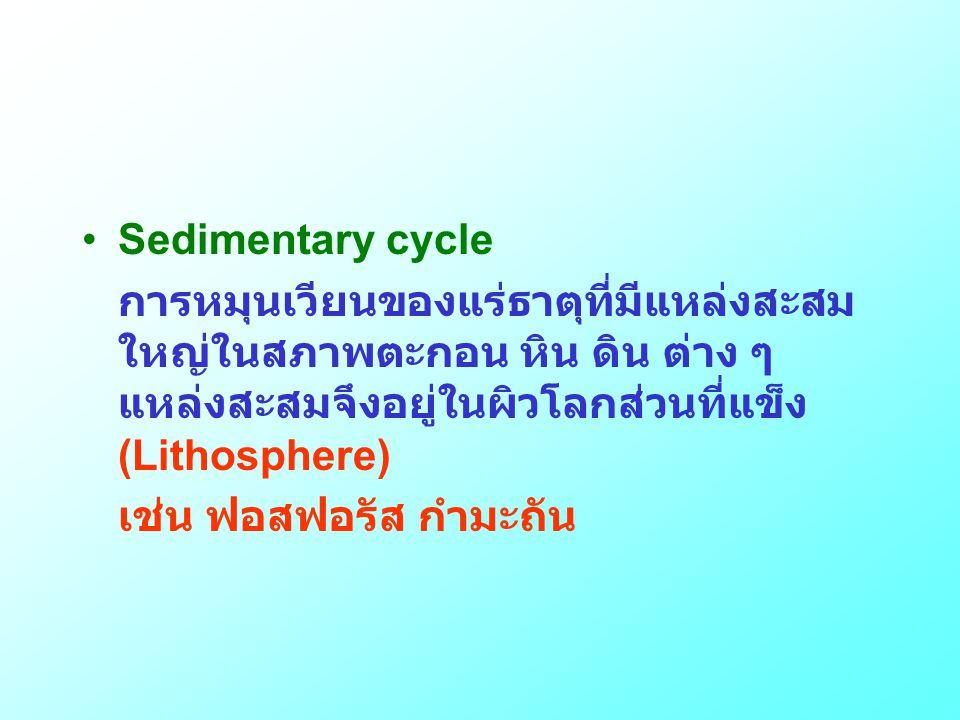 Sedimentary cycle การหมุนเวียนของแร่ธาตุที่มีแหล่งสะสมใหญ่ในสภาพตะกอน หิน ดิน ต่าง ๆ แหล่งสะสมจึงอยู่ในผิวโลกส่วนที่แข็ง (Lithosphere)