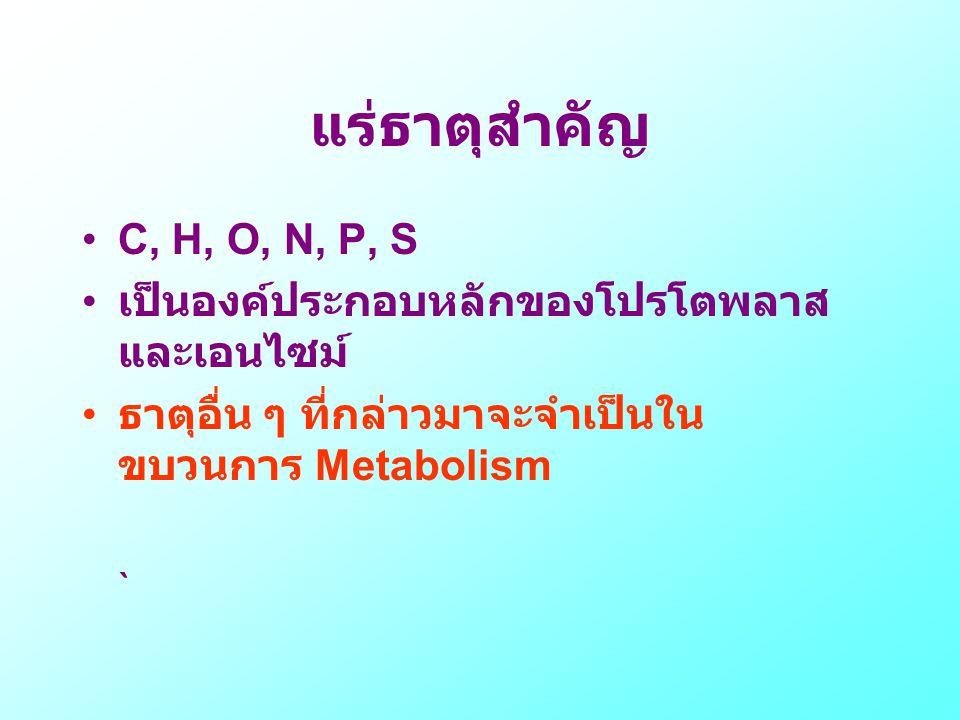 แร่ธาตุสำคัญ C, H, O, N, P, S เป็นองค์ประกอบหลักของโปรโตพลาสและเอนไซม์