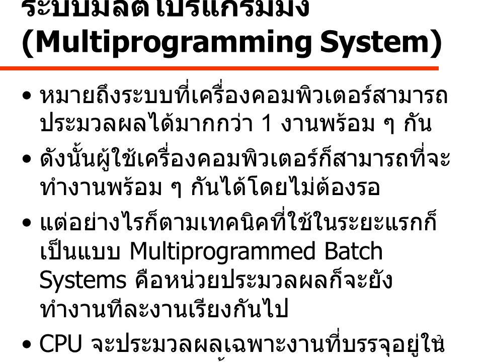 ระบบมัลติโปรแกรมมิ่ง (Multiprogramming System)