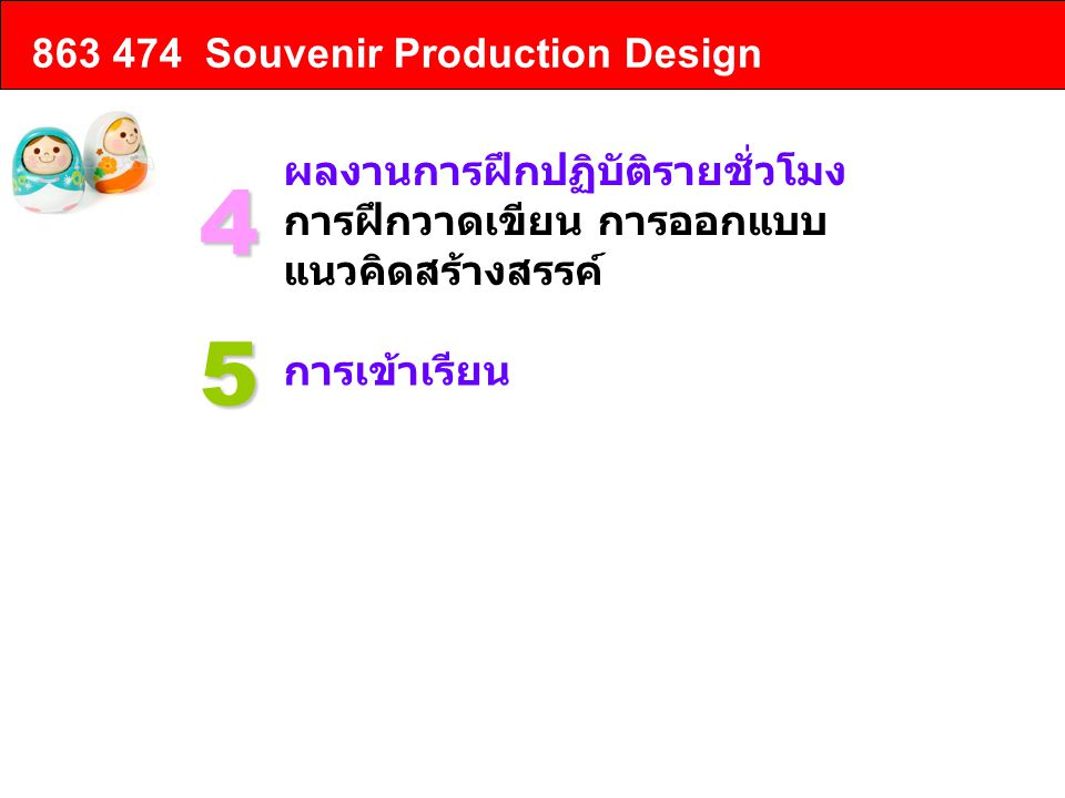 4 5 863 474 Souvenir Production Design ผลงานการฝึกปฏิบัติรายชั่วโมง