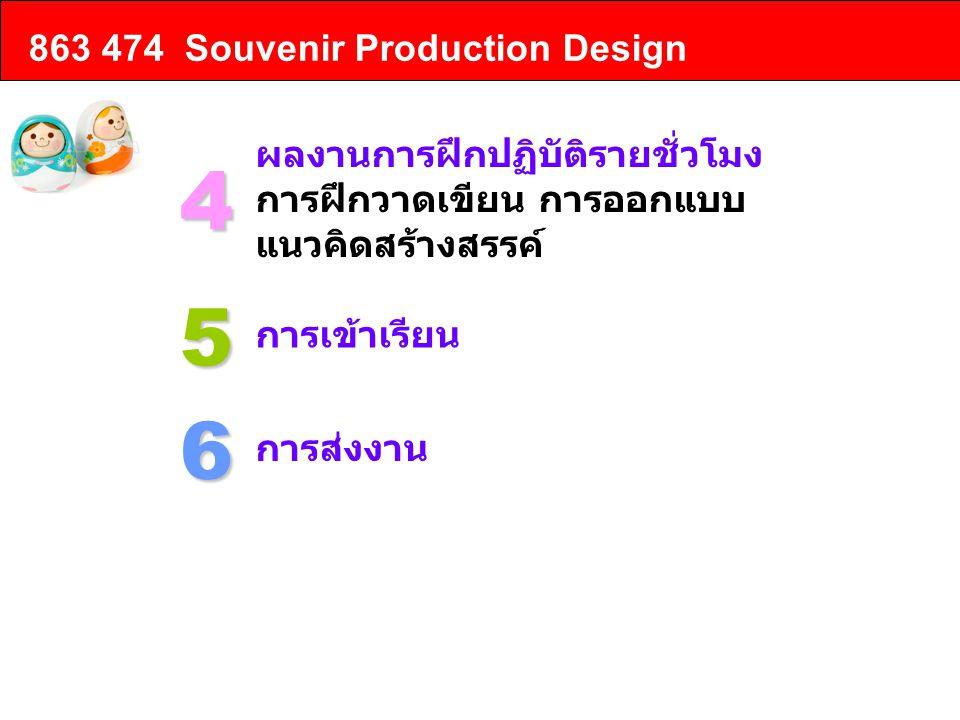4 5 6 863 474 Souvenir Production Design ผลงานการฝึกปฏิบัติรายชั่วโมง