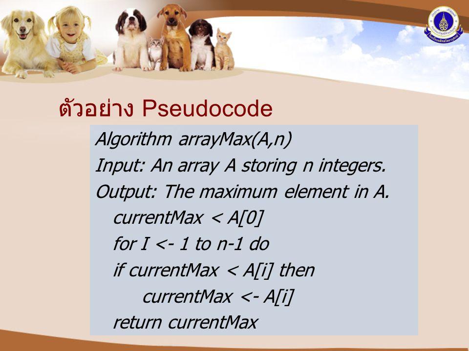 ตัวอย่าง Pseudocode Algorithm arrayMax(A,n)
