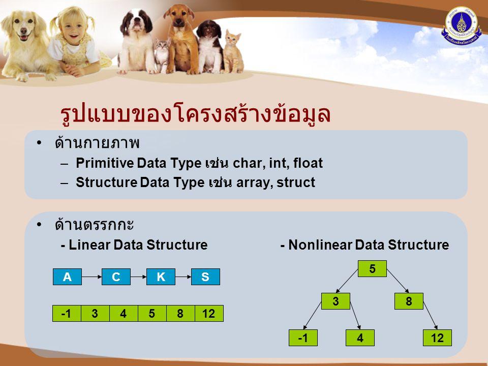 รูปแบบของโครงสร้างข้อมูล