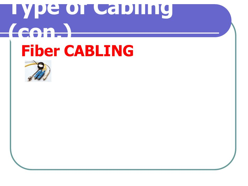 Type of Cabling (con.) Fiber CABLING
