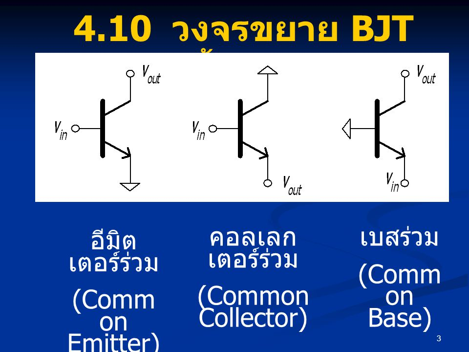 4.10 วงจรขยาย BJT พื้นฐาน คอลเลกเตอร์ร่วม (Common Collector) เบสร่วม