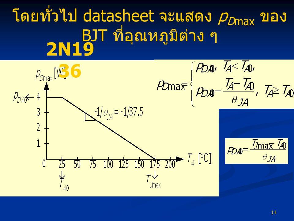 โดยทั่วไป datasheet จะแสดง pDmax ของ BJT ที่อุณหภูมิต่าง ๆ