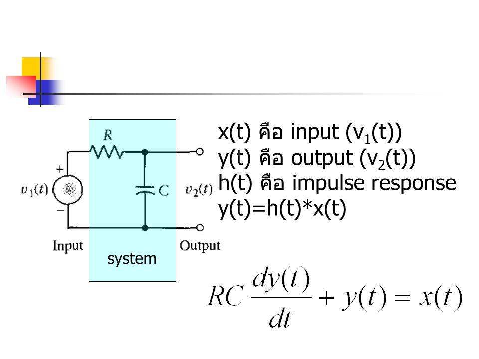 h(t) คือ impulse response y(t)=h(t)*x(t)
