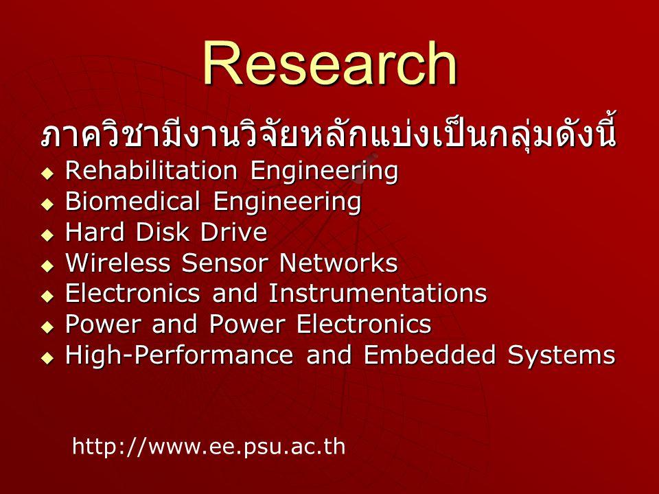 Research ภาควิชามีงานวิจัยหลักแบ่งเป็นกลุ่มดังนี้