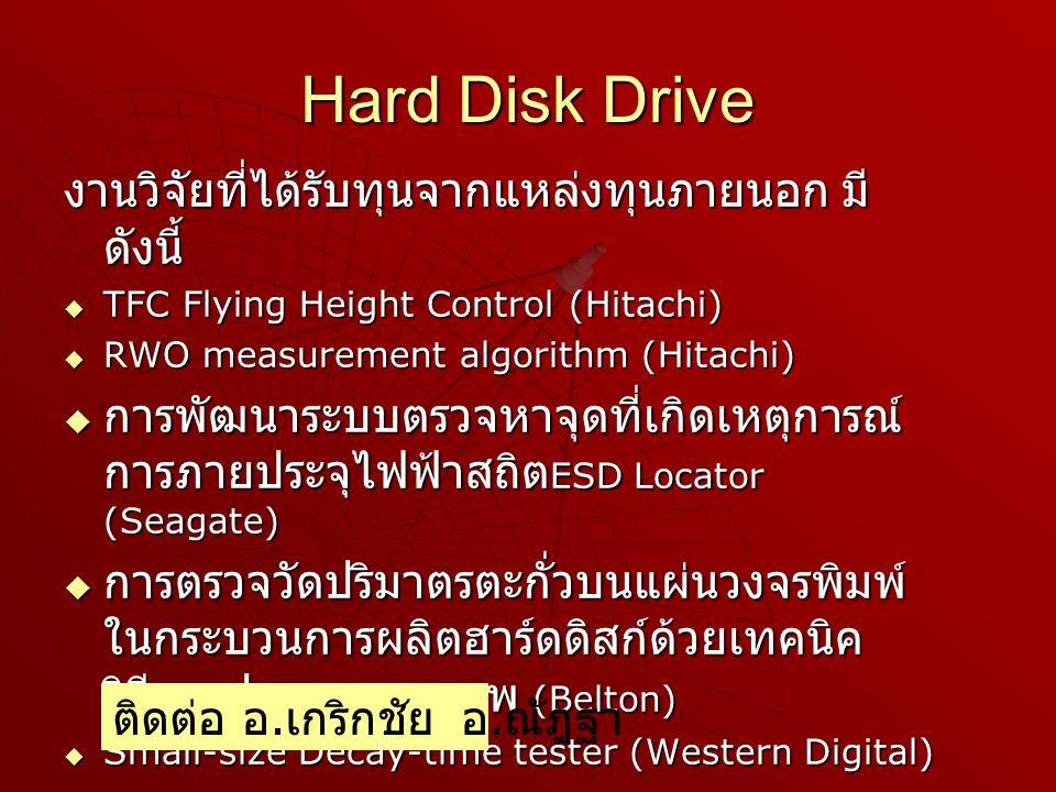 Hard Disk Drive งานวิจัยที่ได้รับทุนจากแหล่งทุนภายนอก มีดังนี้