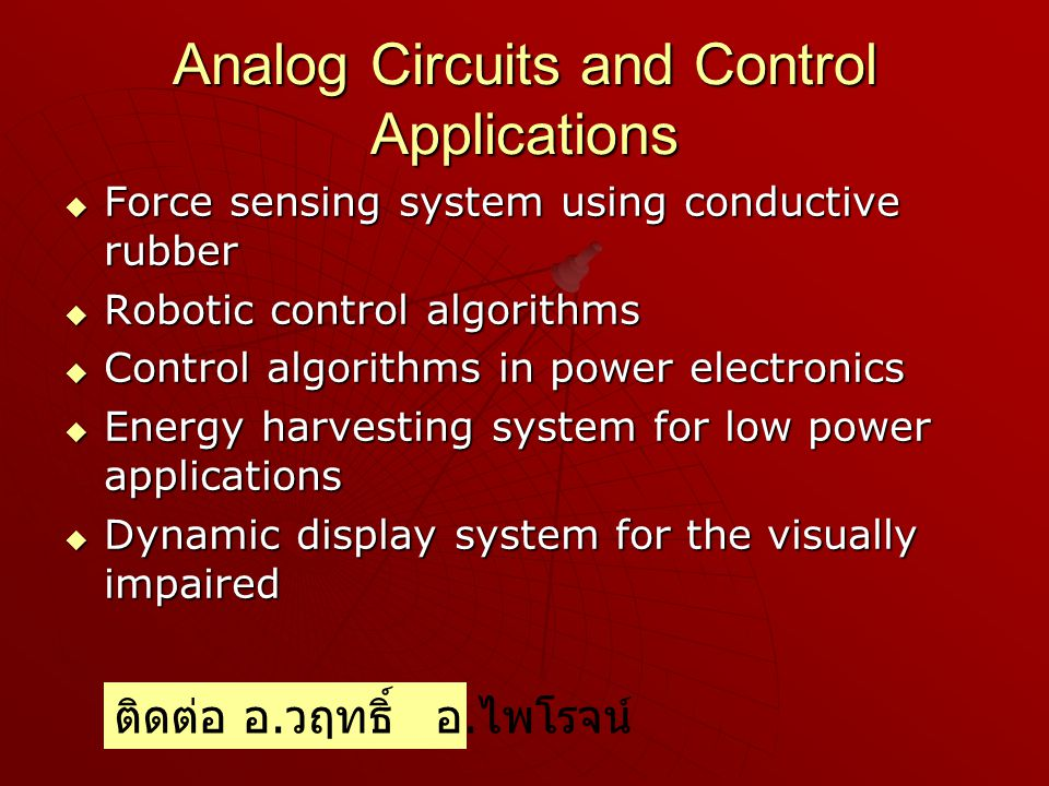 Analog Circuits and Control Applications