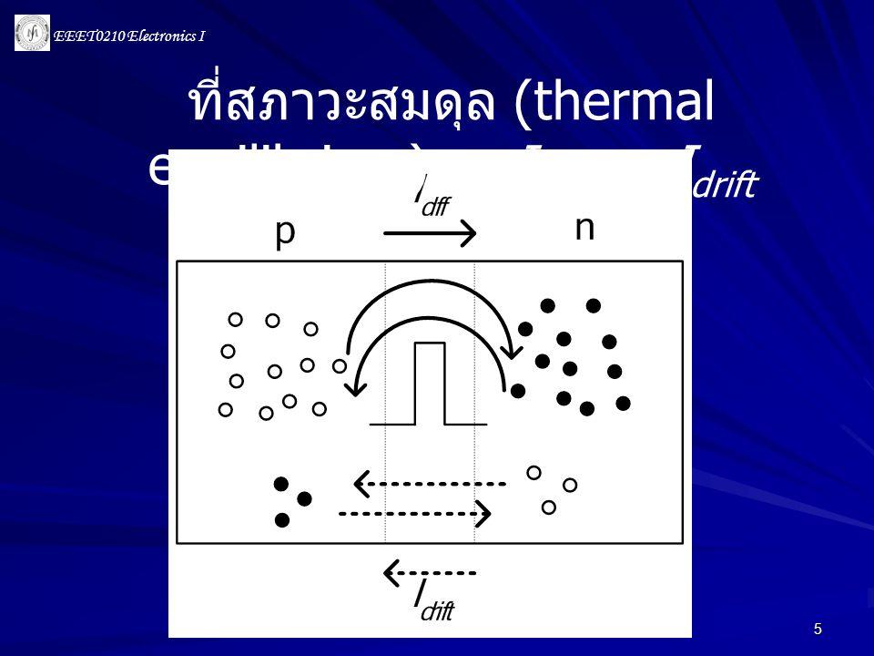 ที่สภาวะสมดุล (thermal equilibrium) Idiff = Idrift