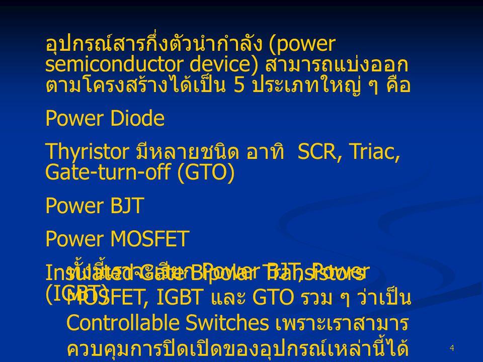 อุปกรณ์สารกึ่งตัวนำกำลัง (power semiconductor device) สามารถแบ่งออกตามโครงสร้างได้เป็น 5 ประเภทใหญ่ ๆ คือ