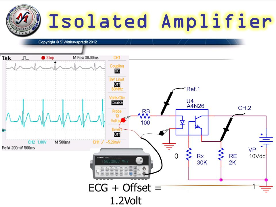 Isolated Amplifier ECG + Offset = 1.2Volt