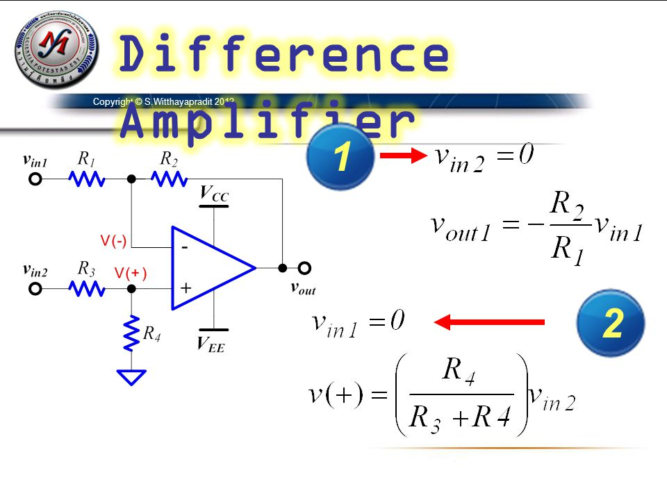 Difference Amplifier Copyright © S.Witthayapradit