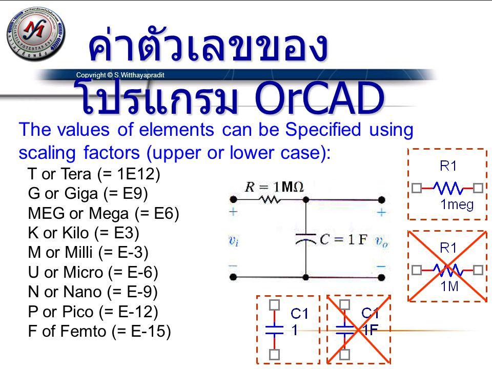 ค่าตัวเลขของโปรแกรม OrCAD