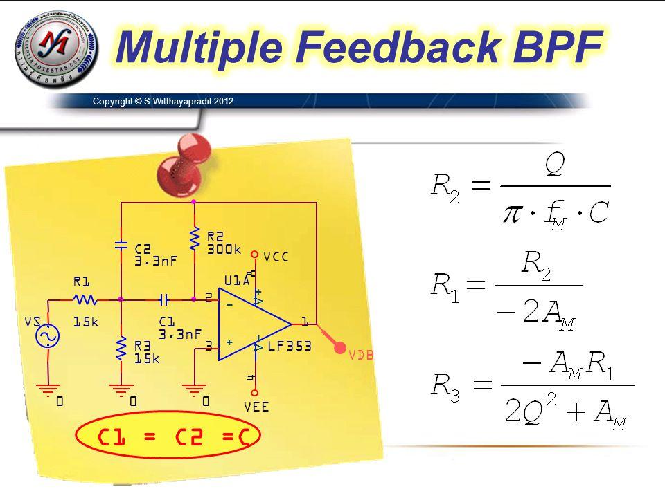Multiple Feedback BPF C1 = C2 =C VDB C2 3.3nF C1 U1A LF353 3 2 8 4 1 +