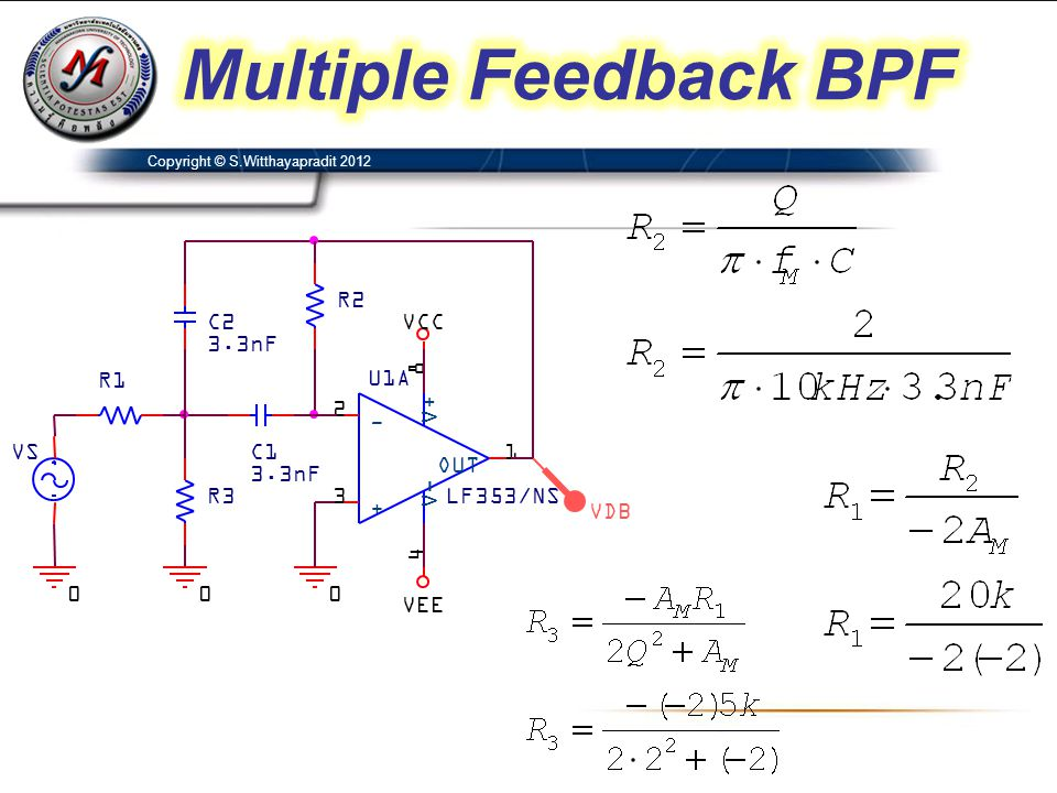 Multiple Feedback BPF VDB C2 3.3nF C1 U1A LF353/NS 3 2 8 4 1 + - V+ V-