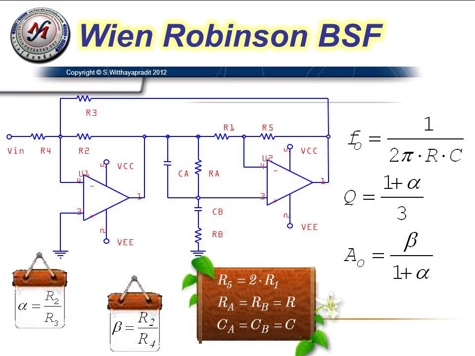 Wien Robinson BSF R2 R1 VCC U2 4 3 2 5 1 - + RB U1 RA CB CA VEE R5 Vin