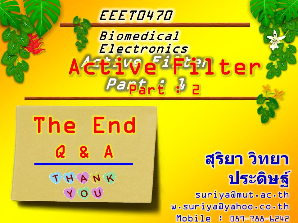 Active Filter The End Q & A Active Filter Part : 1
