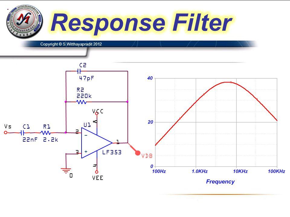 Response Filter VDB VCC C1 22nF U1 LF353 3 2 8 4 1 + - R1 2.2k Vs VEE