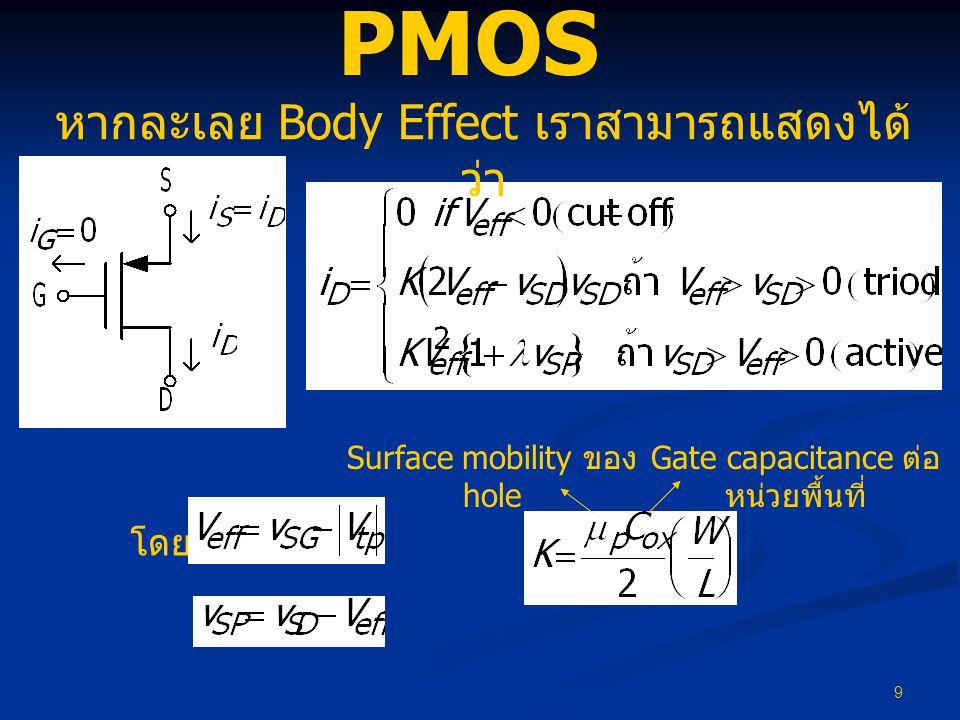 PMOS หากละเลย Body Effect เราสามารถแสดงได้ว่า โดย