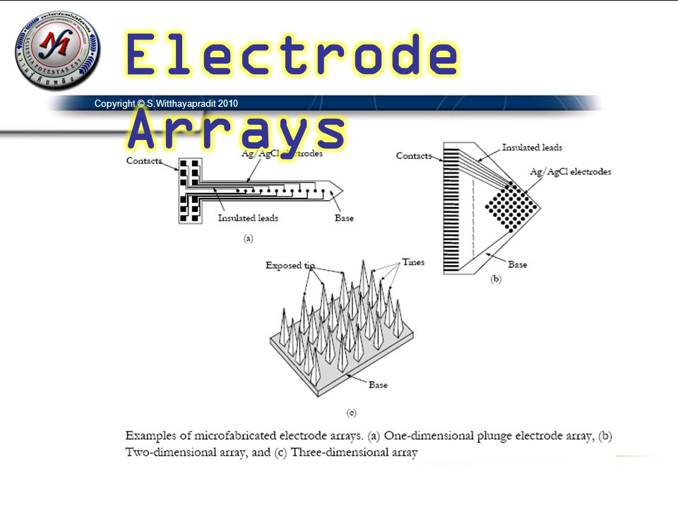 Electrode Arrays Copyright © S.Witthayapradit 2010