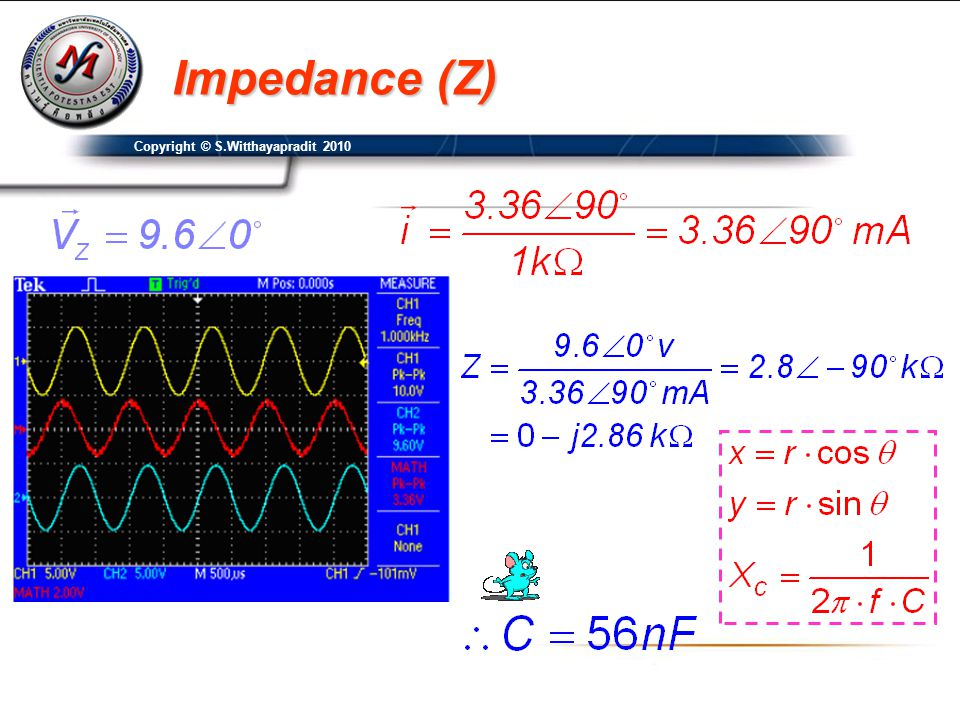 Impedance (Z) Copyright © S.Witthayapradit 2010