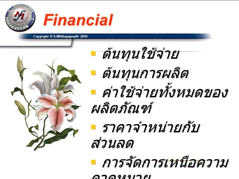 Financial ต้นทุนใช้จ่าย ต้นทุนการผลิต ค่าใช้จ่ายทั้งหมดของผลิตภัณฑ์