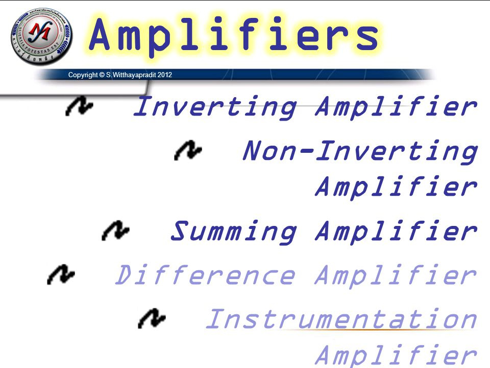 Amplifiers Inverting Amplifier Non-Inverting Amplifier