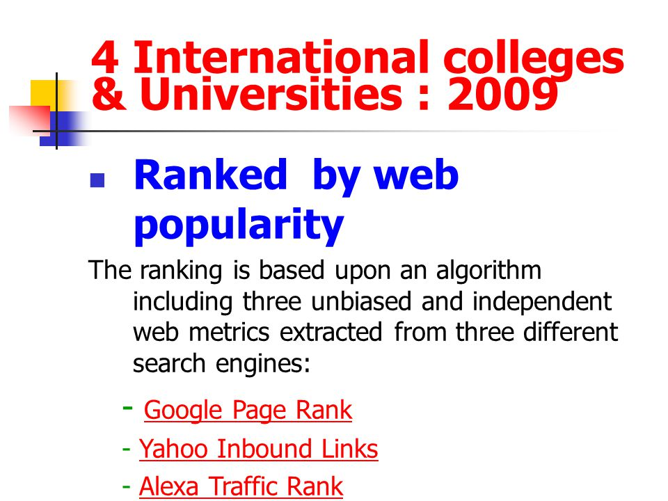 4 International colleges & Universities : 2009