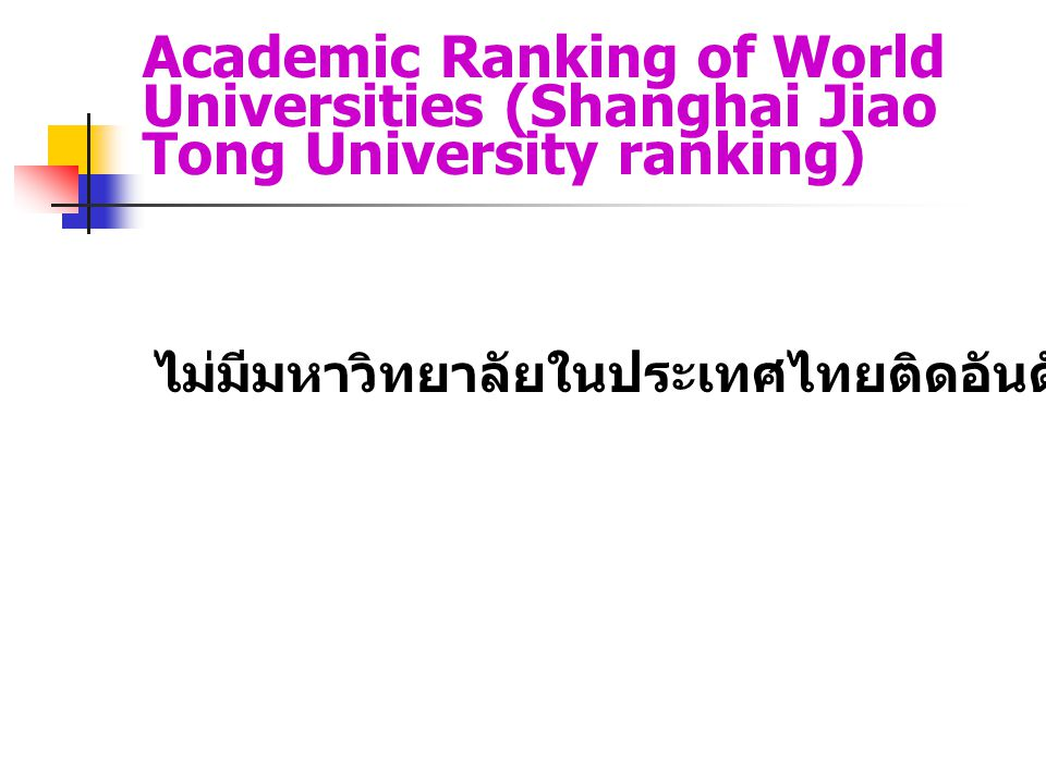 Academic Ranking of World Universities (Shanghai Jiao Tong University ranking)