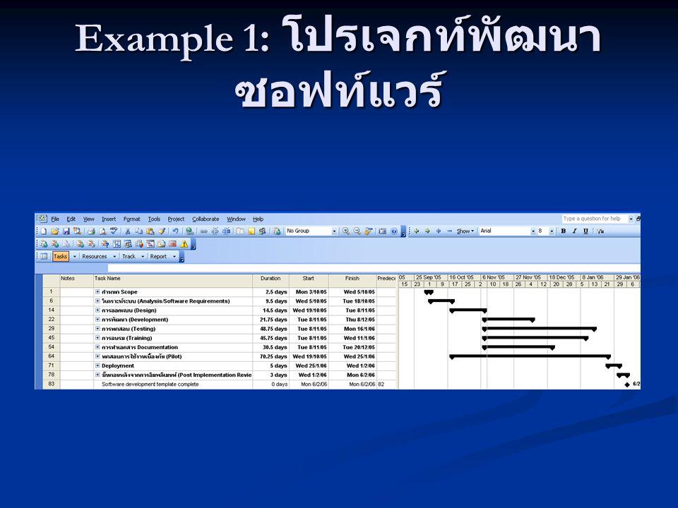 Example 1: โปรเจกท์พัฒนาซอฟท์แวร์