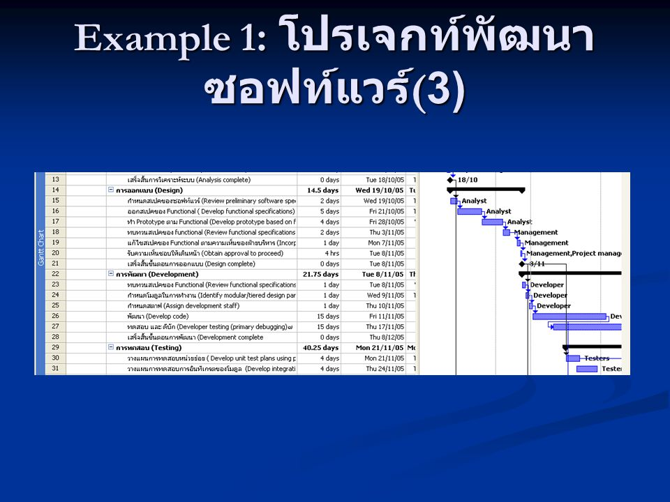 Example 1: โปรเจกท์พัฒนาซอฟท์แวร์(3)