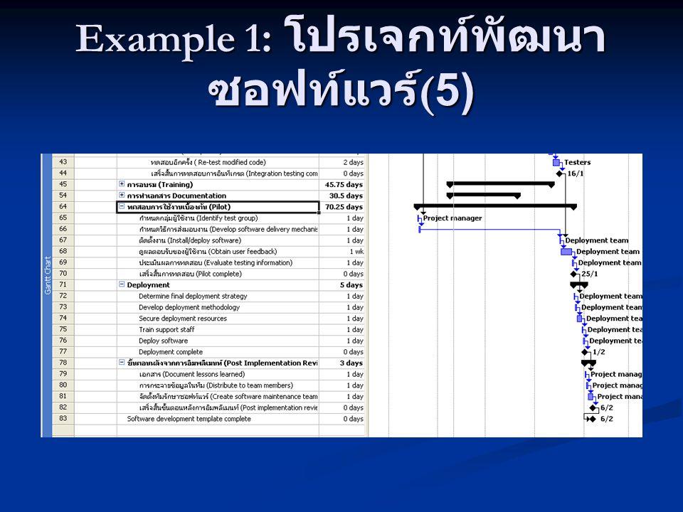 Example 1: โปรเจกท์พัฒนาซอฟท์แวร์(5)