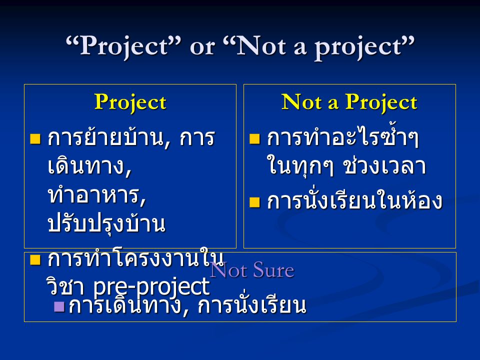 Project or Not a project