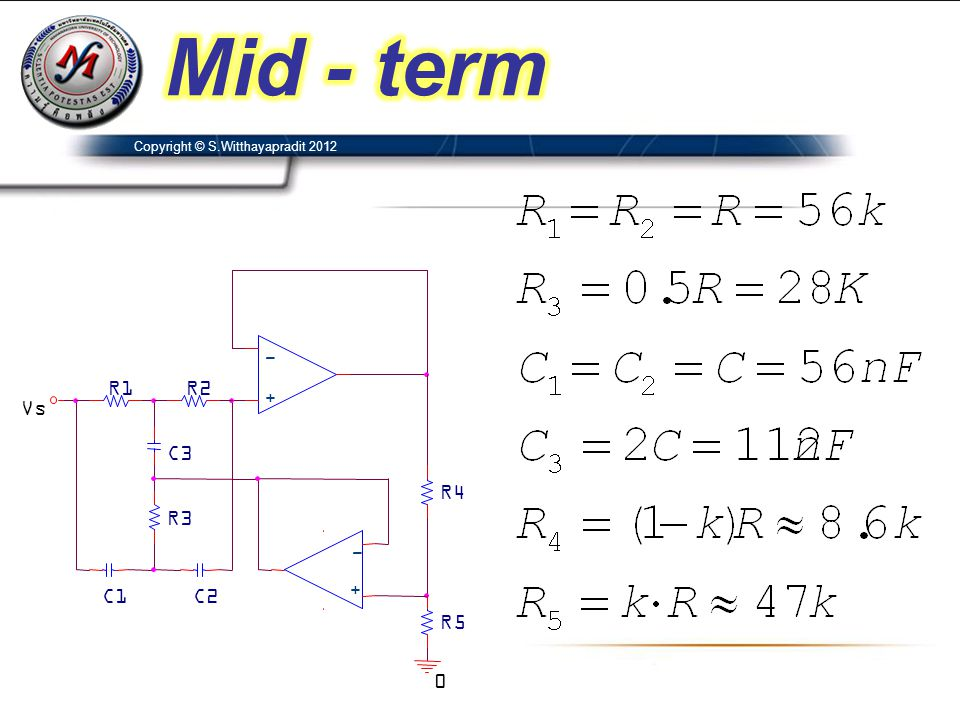 Mid - term C2 + - C3 C1 R1 R3 R4 Vs R2 R5